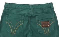 DOLCE&GABBANA JUNIOR Children's Green Pants, Trousers with Logo Badge, Size S