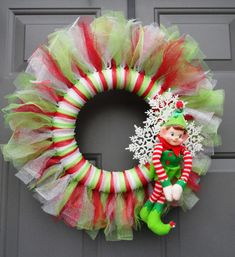 Christmas Holiday Sparkling Tulle Elf Wreath