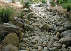 This spring, we need to refine our dry river bed in back yard, wooded area.