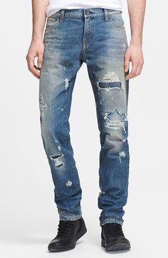 Dolce & Gabbana Slim Fit Destroyed Jeans (Blue)