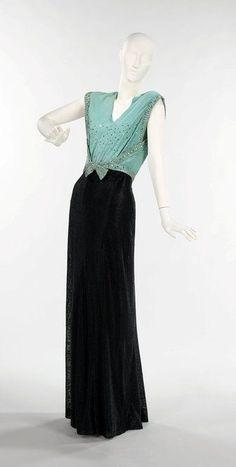 1930's Fashion, evening dress - 1930s - Bias-cut, low backs, and deep V-necks at front - The Metropolitan Museum of Art