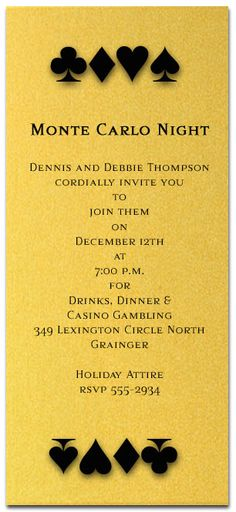 Christmas Invitations: Card Suits on Shimmery GoldParty Invitations - great for Christmas Monte Carlo night, Las Vegas night party and more.