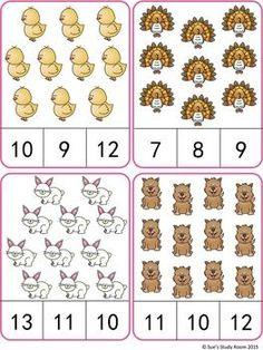 Farm Animals Count and Clip Cards (Numbers by Sue's Study Room Kindergarten Math Worksheets, Preschool Learning Activities, Preschool Activities, Numbers Preschool, Math Numbers, Flashcards For Kids, Math Sheets, Math For Kids, Math Centers
