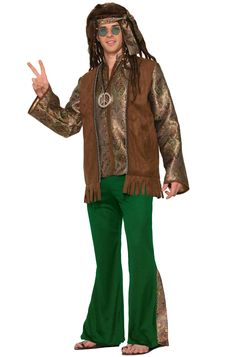 Male Hippie Peace Out Adult Costume (XL)