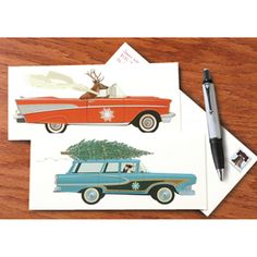 """Rev up the Christmas cheer with these distinctive note cards! Choose the image of a hip reindeer-- scarf blowing in the wind--whose vintage red convertible may be even groovier than Santa's sleigh, or a cool penguin (in a driving cap) hauling a tree atop a classic aqua-colored cruiser. The long (9¼""""x4"""") cards come in sets of eight, with envelopes. (Deer is blank inside and Penguin opens to read """"Season's Greetings."""")"""