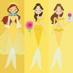 Rainbow of Mermaids Disney Princesses As Mermaids, Disney Princess Dresses, Princess Art, Sailor Princess, Mermaid Disney, Mermaid Art, Disney Fan Art, Disney Love, Walt Disney