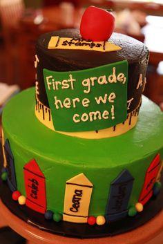 Kindergarten Graduation Cake Confetti cake with vanilla buttercream. School Cupcakes, School Cake, Kindergarten Party, Kindergarten Graduation, Graduation Decorations, Graduation Cake, Graduation Ideas, Graduation Parties, Graduation Images