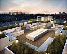 Ideas for our rooftop terrace. Obviously doesnt need to be this big but love the idea of the little strip of garden and seating areas
