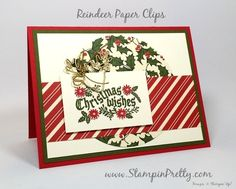 Check Out These Reindeer Paper Clips! - http://stampinpretty.com/2015/08/check-out-these-reindeer-paper-clips.html  Fresh & nostalgic Christmas card combines Cozy Christmas stamp set and Home for Christmas Designer Series Paper.  More details & Stampin' Up! card ideas on my Stampin' Pretty blog, http://stampinpretty.com.  Mary Fish, Independent Stampin' Up! Demonstrator.