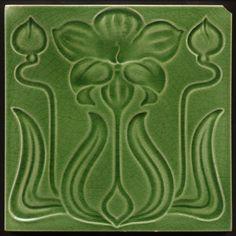 TH2810 Antique Art Nouveau Majolica Flower & Buds Tile Rd. 1905 in Antiques, Architectural Antiques, Tiles   eBay
