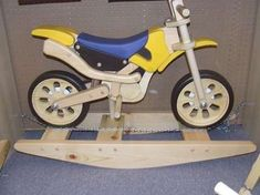 Wooden Motorcycle Rockers - Retro Rocking Toy for Badass Baby Bikers (GALLERY)