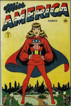 Miss America Comics#1, 1944. Cover by Ken Bald.