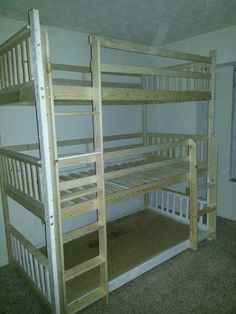 My husband made these triple bunk beds for my friend who is a foster and adoptive parent. I am considering a set for myself. bunkbed