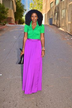 Silk Button-Up Shirt + Silk Maxi Skirt | Style Pantry. Love the colors!!!