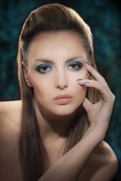 """From one of my favourite #Makeup artists Kevin James (KJ) Bennett - using: Kryolan The typical """"smoky eye"""" becomes a modern, color saturated focal point of unexpected elegance by layering tones of blue and tempering them with a wash of metallic as a finishing touch.#abeautyfeature #smokeyeye"""