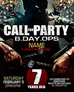 Printable Call of duty invites Black ops theme party Pinterest