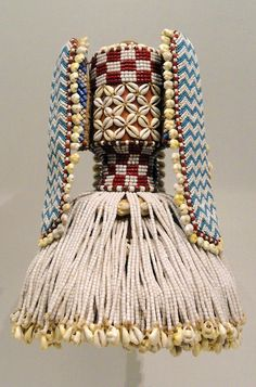 Africa | Hat (Kalyeem) from the Kuba people of DR Congo | Raffia, glass beads, cowrie shells and cloth | ca. early 1900s