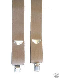"Suspender Tan Silver Finish Hardware 50"" Crossback | eBay"