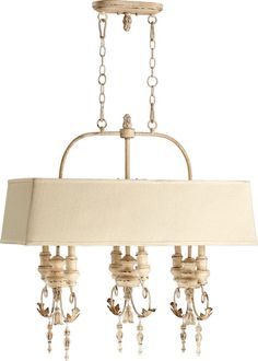 """Salento Series 6-Light 31"""" Persian White Island Light with Off-White Shade 6506-6-70"""