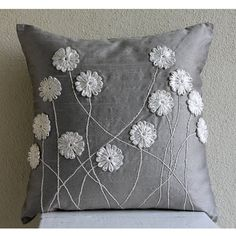 Luxury Grey Throw Pillows Cover, Silk Pillowcase, Square Ribbon Flower Pillows Cover – Floral Whispers Decorative Pillow Covers Accent Pillows Couch Toss Sofa Gray Silver Silk Pillow Cover Embroidered Home Decor Bedding Floral Whispers Modern Pillow Covers, Modern Pillows, Decorative Pillow Covers, Bed Covers, Cushion Covers, Grey Throw Pillows, Throw Pillow Covers, Accent Pillows, Buy Pillows