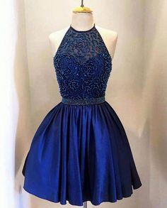 High Neck with Beaded Bodice Halter Taffeta Homecoming Dresses,Royal Blue Cocktail Dress.Sleeveless dress