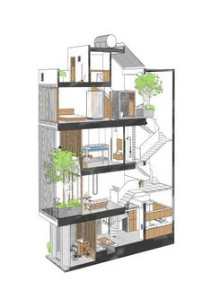 3 Storey House Design, House Front Design, Small House Design, Modern House Design, House Layout Plans, Small House Plans, House Layouts, Small House Exteriors, Narrow House Designs