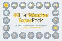 49 Flat Weather Icons Pack by painterr on @creativework247