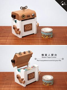Robot Washi Tape Holder Wood Case Tape Dispenser by pikwahchan