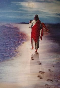 Jesus carrying you, footprints in the sand prophetic art.