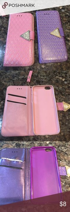 I phone 6 cases-bundle! These two fun cases have some life left.  The purple case is missing the wrist handle to it and has some scratches. Both has small worn parts to it. fashion Accessories Phone Cases