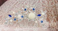 Bridal Hair Comb Wedding Hair Comb Sapphire by goddessdesignsgems Bridal Comb, Hair Comb Wedding, Wedding Hair Pieces, Bridal Hair, Blue Pearl, Silver Pearls, Blue Sapphire, Wedding Jewelry, Wedding Hairstyles