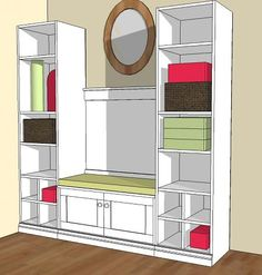 Mudroom bench and shelf plans