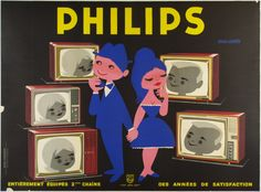 Philips Télévision / Saint-Geniès France - c. 1950 / 63 x 48 in (160 x 122 cm) / Browsing their fancy new options, a young couple contemplates television options in this French 1950's poster by Saint-Génies.