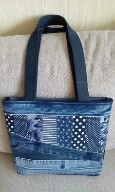 Multi patterned denim bag.