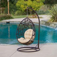 wicker teardrop swinging chair