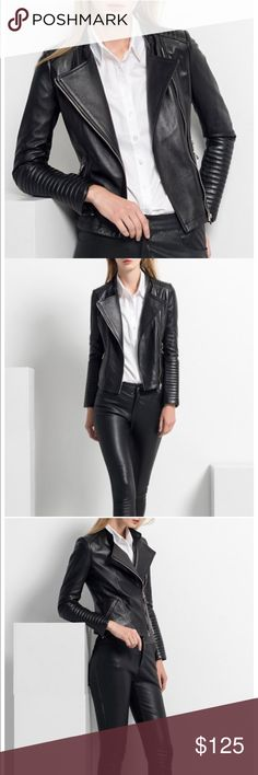 [NEW] Long Sleeve Zip Front Black Moto Jacket New with tags & original packaging. Ordered a Size Medium, but I swear it fits like an Extra Small! Look edgy chic like the model by pairing it with a simple top & leather pants ;) Or, pair this with any dress for a fun date night or GNO look :) Jackets & Coats