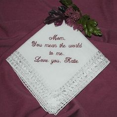 Mother Of The Bride Gift Personalized Handkerchief By Coutureweddinghankie On Etsy