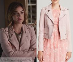 Aria Montgomery (Lucy Hale) wears this pink leather jacket in this week's episode of Pretty Little Liars. It is the Maje Leather Jacket. Pll Outfits, Tv Show Outfits, Casual Outfits, Cute Outfits, Pretty Little Liars Outfits, Pretty Little Liars Seasons, Perfecto Rose, Fashion Tv, Fashion Outfits
