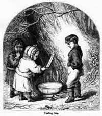Collecting maple sap with noggins.