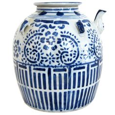 Chinese Blue and White Porceline Teapot | From a unique collection of antique and modern ceramics at http://www.1stdibs.com/furniture/asian-art-furniture/ceramics/