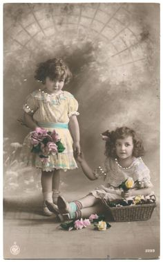 Vintage Divided Back Tinted Photo Postcard Edwardian Children E J Hey Co 1912 | eBay:
