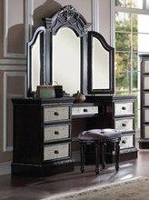 Check out he majestic Kensington Vintage Silver Espresso Makeup Vanity Table…