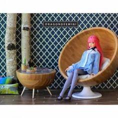 Poltrona e tavolino per bambole realizzato con ciotole IKEA BLANDA MATT