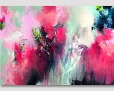 Original XL abstrakte Acryl Arbeit der bildenden Kunst, große Leinwand, Redrose-rosa Mintgrün Kunstwerk, Malerei, moderne Kunst auf Leinwand