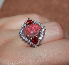 fire opal Cz ring gemstone silver jewelry Sz 8 cocktail engagement wedding band  #Cocktail