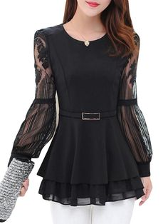 Latest fashion trends in women's Blouses. Shop online for fashionable ladies' Blouses at Floryday - your favourite high street store. Spring Fashion Trends, Latest Fashion Trends, Stylish Jeans Top, Mode Outfits, Stylish Outfits, Blouse Styles, Blouse Designs, Iranian Women Fashion, Chiffon