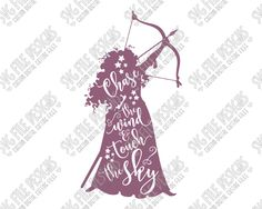 Merida Silhouette Disney Word Art Cut File Set in SVG, EPS, DXF, JPEG, and PNG