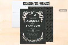 Chalkboard wedding invitation (assembled) at minted.com