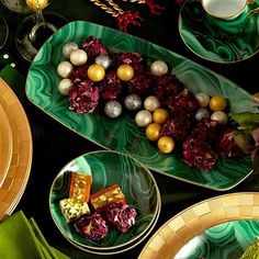 L'Objet Malachite Rectangular Tray - Medium | Gracious Style