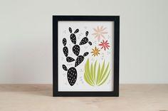 Cactus Art Print  Abstract Desert Floral Art  by RetroMenagerie